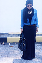 Aishah Amin. - Kitschen Denim Shirt, Kitschen Necklace, Padini Belt, Skirt, Maysaa Snood - Denim Darling.