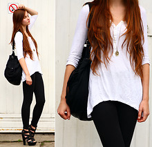 Ariadna M. - H&M Bag, H&M Leggins, Asos Leather Heels, Asos Necklace, H&M White Shirt - Where do we go