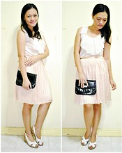 Chantal Jane - Bazaar Bib Blouse, Chloé Silk Pleated Skirt, Sm Dept. Store Clutch, Hongkong Abaca Wedge - Dainty Bella