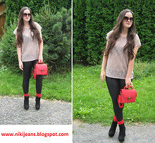 Nikol S - Frontrowshop Bag, Lindex Lace T Shirt - Red socks