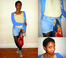 Rachel Williams - New Look Cardigan With Brooch, Levi's® Levi's Diy Denim Shorts, Vintage Shop Scarf, Converse, Gift Vintage Vest Top - Big Chop!