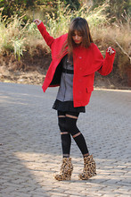 Raquel . - Jeffrey Campbell Wedges, Urban Outfitters Coat, Urban Outfitters Dress, Asos Tights - The Red Leopard