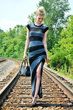 Celia Ammerman - A.L.C. Striped Maxi Dress, Prada Saffiano Bag, Prada Studded T Strap Sandals - Bandit
