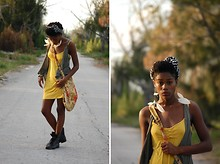 Moni Harris - Sis Yellow Dress, Dd Floral Bag, Vest, Striped Headwrap, Payless Boots, Aldo Feather Earrings - Late Summer