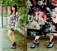 Cerisse Salvador - Floral Mini Dress, Ankle Boots - Wildflower