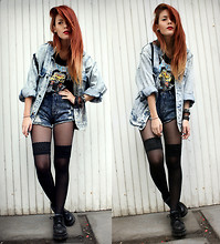 Lua P - Vintage Denim Jacket, Yayer Shorts, Vintage Shoes, Vintage Tee - Trailer Trash