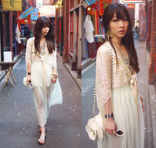Ivy Xu - Forever 21 Earrings, Vintage Shawl, Topshop Flower Purse, American Apparel Skirt - Chinatown