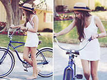 Bethany Struble - Angl White Backless Dress, Thrifted Straw Hat - Come Home