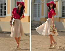 Daisyline . - H&M Skirt, Blouse, Clutch, Heels, Parfois Hat - Raspberry love