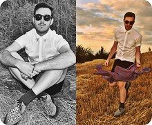 Pete .N - Asos Shirt, Vintage Sunglasses, Underground London Shoes, Vintage Shorts - IN THE FIELDS