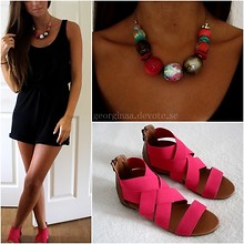 Georgina Caskey - Bikbok Playsuit, Accessorize Necklace, Duffy Sandals - A bit pinkish.