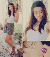 Cerisse Salvador - Brown Floral High Waist Shorts, Pink And White Stripped Razor Back, Gold Sparrow Necklace, Purple Oval Ring, Pink Bridget Ring, Criss Cross Sandals - Keeping it simple