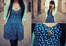 Nathalie L. - Zara Light Blue Cardigan, H&M Dress With Bows, Mim Bird Cage Necklace - Minutes turn to hours, without you…