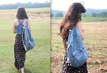 Lauren Winter - American Apparel Denim Backpack, Thrift Store Vintage Floral Rayon Maxi, Thrift Store Vintage Denim Crop Top - Tennessee denim