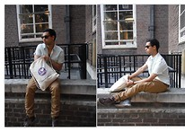 Aman Dhír - Topman Chinos, Topman Shirt, Size (London) Shoes, Urban Outfitters Shades - New At The Book, Old At The Scene.