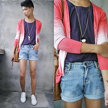Jeroy Balmores - Forever 21 Necklace, Diy Shorts, Wade Shoes - Acid Wash
