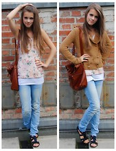 Julia R - Promod Vest, Frontrowshop Light Blue Jeans, Pimkie Floral Shirt - Laugh and the world laughs with you