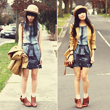 Connie Cao - Romwe Bowler Hat, Romwe Dress, Chic Wish Blazer, Vintage Belt, Chic Wish Bag, Urban Outfitters Boots - SEND ME TO FRANCE