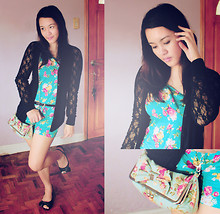 Cerisse Salvador - Blue Floral Romper, Black Lace Cardigan, Blue Floral Clutch, Black Low Heeled Flats - 080711
