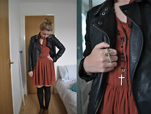 V K - Topshop Studded Leather Jacket, Primark Dress, New Look Brown Wedge Heels, Urban Outfitters Cross Double Finger Ring, Topman Rosary Beads - We're like noughts and crosses
