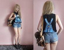 Shel Duffy - Asos Shoes, Topshop Shorts, Thailand Panda Top, Thailand Bag - Fake dungarees