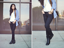Jenny Ong - American Apparel Chambray Button Up, Chic Wish Artist's Blouse, Bebe Skinnies, Forever 21 Lace Up Booties - Urban natured