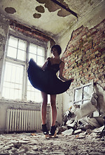 Mira Berglind - Vintage Skirt, Jeffrey Campbell, H&M Bustier - LIKE A BLACK SWAN IN THE MIDDLE OF NOWHERE
