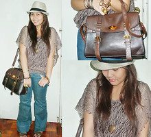 Carrie Rivera - Landmark Knitted Top, Mulberry Inspired Bag, People Are Super Flared Jeans, Divisoria Hat - Happy Hat