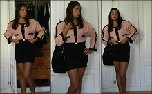 Frying Heart - My Mum's Closet Pink Jacket, Stradivarius Black Tube Skirt, Giorgio Armani Black Bag - Pink Lady