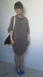 Ei Leen Khoo - Hong Kong Polka Polka Dress, Cotton On Blue Heels - Japanese Ah Shin!