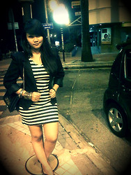 Syerra Iffeera Carl's - Guess? Handbag, Stripe Dress, Guess? Bangles - Feel~