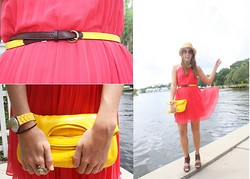 Katie M - Yapa(Local Boutique) Dress, Old Navy Belt, Francesca's Clutch, Target Wedges, J.Crew Outlet Hat - Down by the River