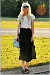 Coury Combs - Vintage Sheerwood Forest Skirt, Vintage Cropped Eyelet Top - You're the prize Gardenia.