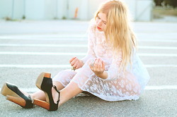 Amanda Brohman - Thrifted Lace Dress, Jeffrey Campbell Foxy Heels - Nothing thrills us anymore