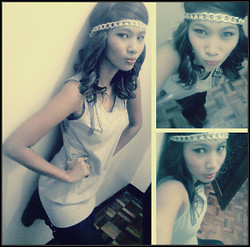 Joanne Pimentel - Zara Gray Dress, Chain Headband, Boots - ♔ ❤Could it be..that the Girl is me in that photograph  ❤♔