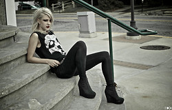 Katya Hilton - Thrift Cut Up Converge Tee, Never Given Back To Samantha Lee, Ugh, Oops Belt, Forever 21 Black Denim, Black Boot Wedges - Living Dead Girl