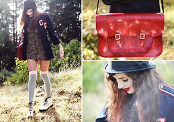 Annika M. - The Leather Satchel Co Red, Monki Black Bowler Hat, Dr. Martens White Boots, Grey/Pink Over Knee Socks, Vintage Leopard Print Dress, Vintage Blue Blazer - This Mod(ern) Love.