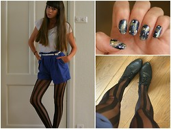 janne ' - H&M Shirt/Panty/Shoes, Made Them Myself Galaxy Nails, Topshop Suede Shorts - Galaxy nails