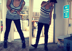 Lindsay Ashabran - Merona Tank Top, Love Skinny Jeans, Thrift Store Vintage Boots - I JUST WANT BACK INTO YOUR HEAD