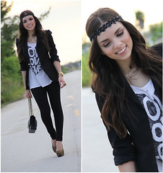 Daniela Ramirez - Zara Blazer, Forever 21 Top, Express Leggings, Chanel Bag, Swatch Watch, Valentina Hidalgo Accessories Headband - The sparkly headband!