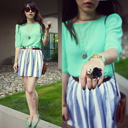 Ivy Xu - American Apparel Top, Aldo Ring, Vintage Bag, American Apparel Skirt - Cyan Rose