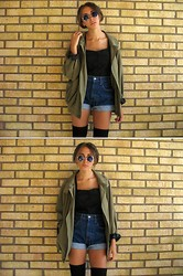 Malin E. - Monki Black Top, 2hand Blue Round Sunglases, 2hand High Waisted Denim Shorts, 2hand Khaki Green Jacket - I tried my best to be good to you