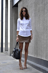 Hedvig ... - Ray Ban Sunnies, Cos Shirt, Zara Leather Skirt, Céline Sandals, Céline Bag, Tagheuer Watch, Kenneth Jay Lane Bracelet - City