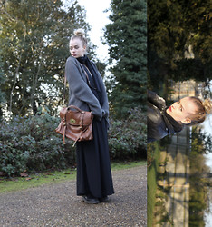 Abby OW - Mulberry Oversized Tan Alexa, Black Maxi Skirt, Dr. Martens Dms, Oversized Knit, Leather Biker - The Top Knots/knits