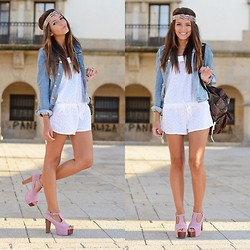 Alexandra Per - H&M Denim Jacket, Blanco Romper, Shampalove Sandals, Pull & Bear Backpack, Sfera Headband - Denim, platforms...