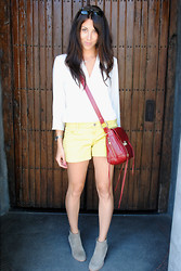 Tracy Project Tracy - Dolce Vita Booties, Rebecca Minkoff Bag, Gap Shorts, Elizabeth And James Top - Dolce Vita+Lemon Yellow=Yummy