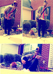Kaelin Davis - Vintage Vest, Red Slim Tie, Button Up - In the silence,all my thoughts scream at me..