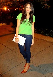 Nena ♥ - Self Made Necklace, Braceletes, Banana Republic Top, Vintage Clutch, Nine West Shoes - Citrus feeling!