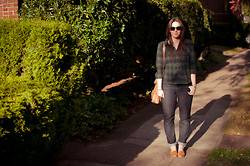 Kelly M. - H&M Plaid Shirt, Gap Dark Wash Jeans, Crown Vintage Loafers, Cole Haan Bag - Classics