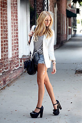 Shea Marie - Zara Blazer, Brandy Melville Usa Top, Levi's® Shorts, Moni Bag, Opening Ceremony Shoes - Its all just black & white